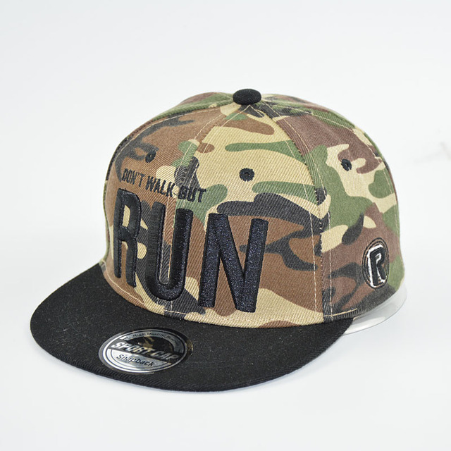 HAPPY TAIL Camouflage Hat Baseball Cap Kids RUN Letters Emboridered  Snapbacks for Boys and Girls Sun Cap 19f6c579063