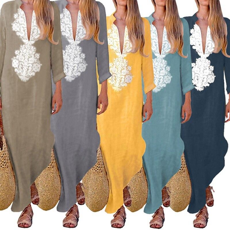e4be51f2def Detail Feedback Questions about LAAMEI 2018 Womens Paisley Long Sleeve Long  Maxi Dress Baggy Cotton Linen Kaftan Dress Loose Abaya Jilbab Muslim Dresses  ...