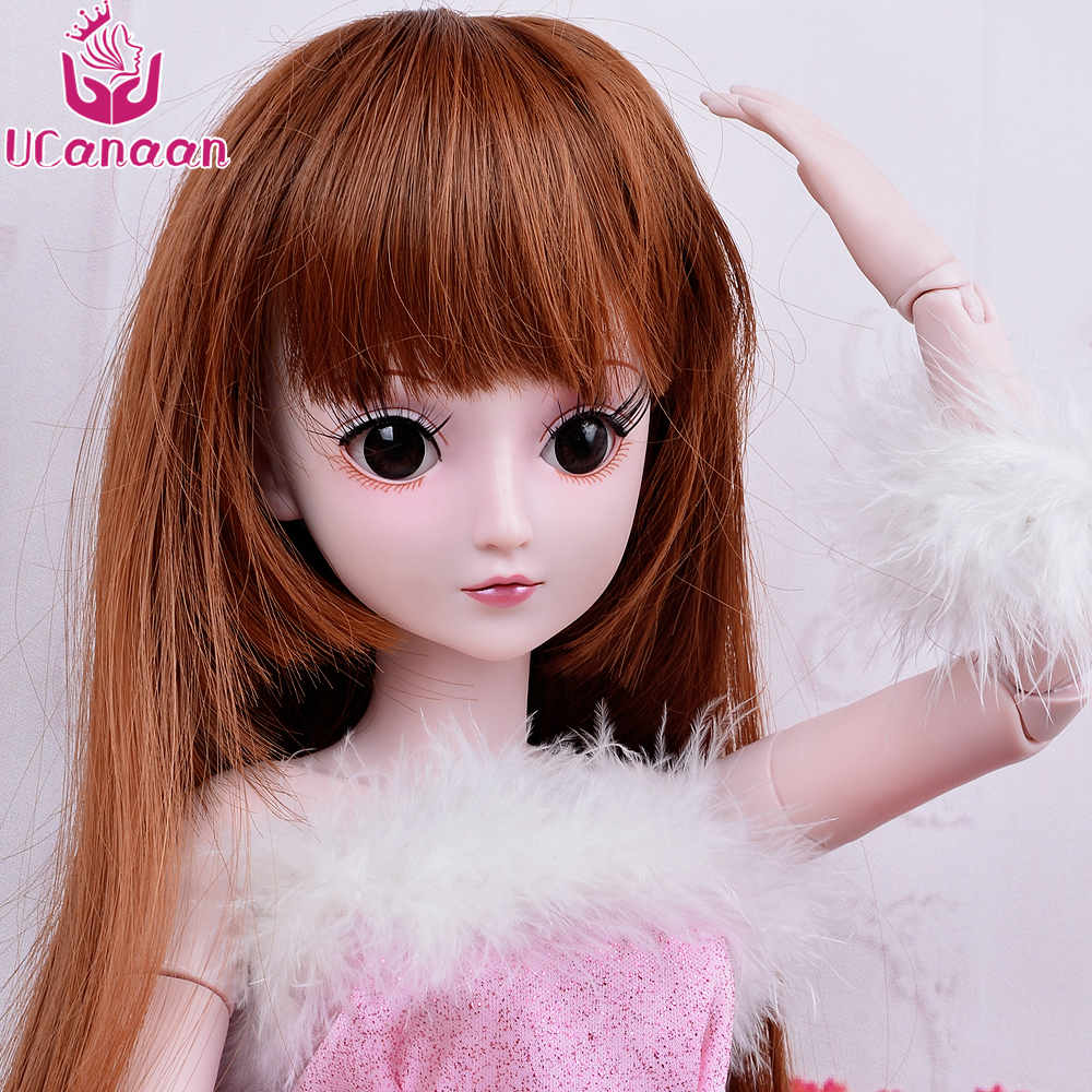 UCanaan 1/3 BJD Girl Dolls 19 Ball Jointed Doll With Outfit Dress Wig Eyes Makeup SD Dolls For Girls Collection Kids Toys Boneca handmade ancient chinese dolls 1 6 bjd jointed doll empress zhao feiyan dolls girl toys birthday gifts