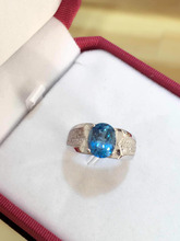 Natural blue topaz Ring Natural gemstone  Ring S925 sterling silver trendy luxurious big Square women men gift Jewelry