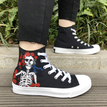 цены Wen Classic Black Canvas Sneakers Design Grateful Dead Skull Hand Painted Shoes High Top Custom Skateboard Sport Shoes