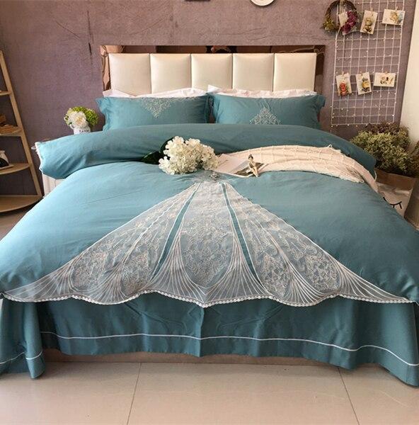Pink light green Egypt velvet cotton satin embroidery Bedding four pcs sets Lace princess Double