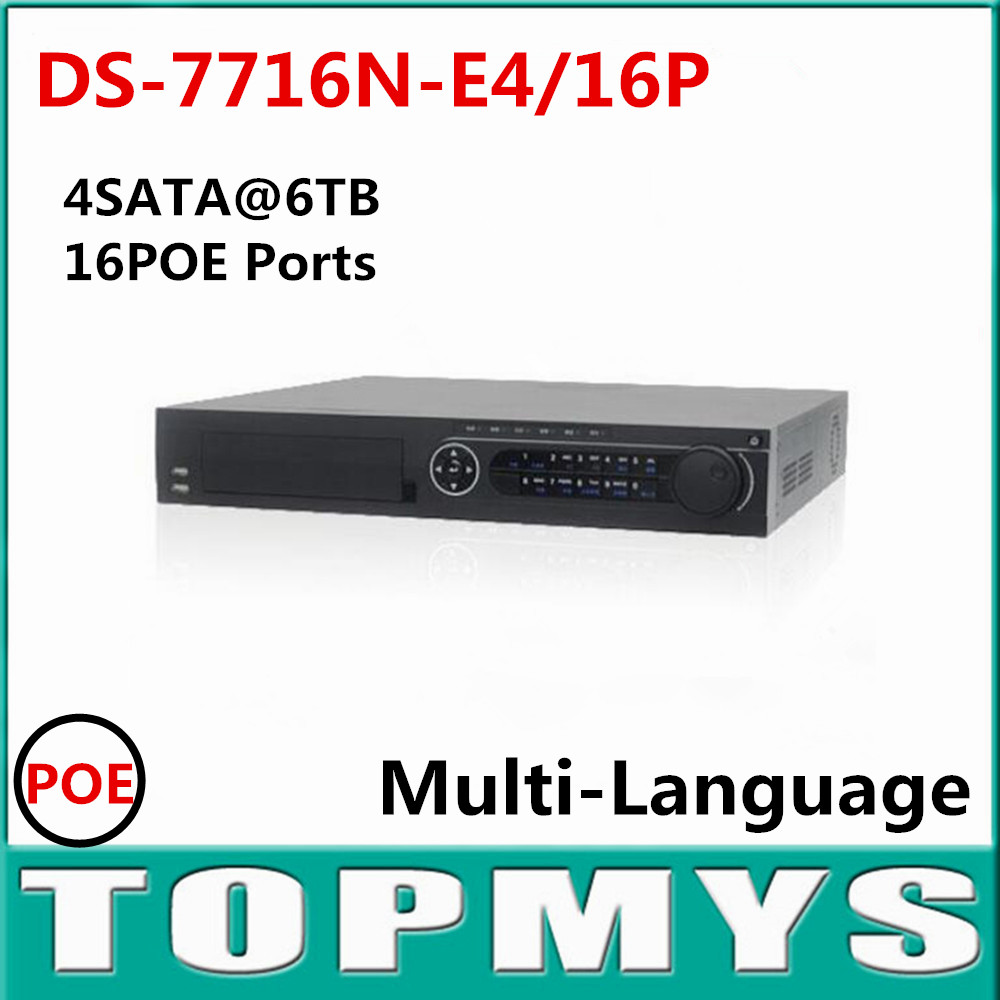 Newest HIK DS-7716N-E4/16P 16CH NVR with 16 POE Interface IP Camera Network Video Recorder 4SATA for HDD Multi-language hik ds 7716ni i4 16p original updatable english version 16ch nvr 16poe interface ip camera network video 4sata hdd