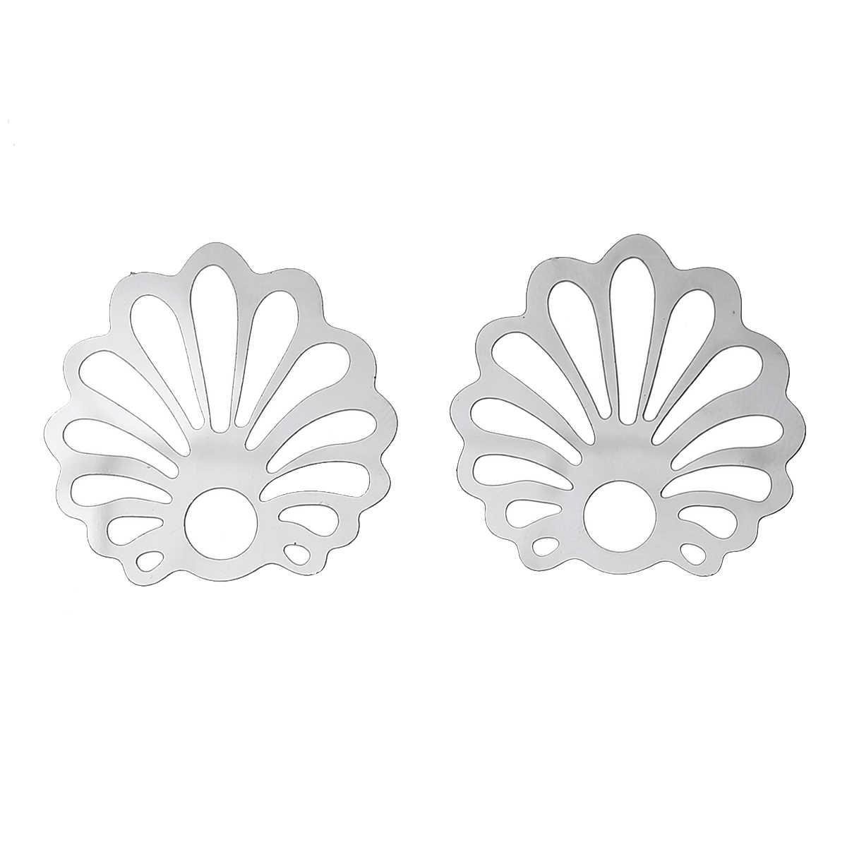 "DoreenBeads Filigree สแตนเลส Embellishments ผลการค้นหา SHELL Silver TONE Hollow Stripe 30 มม.(1 1/8 "") X 29 มม.(1 1/8 ""),1 ชิ้น"