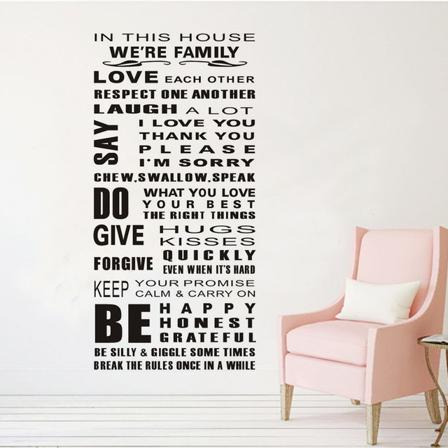 English Text In This House We Are Family Rules Wall Sticker For Kids Room Decor