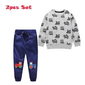 Image 2 - กระโดดเมตร Applique เสื้อผ้าเด็กชุดกางเกงขายาว + เสื้อผ้าฝ้ายรถยนต์ 2 ชิ้นชุดสำหรับฤดูใบไม้ร่วงฤดูหนาวชายชุดสูท