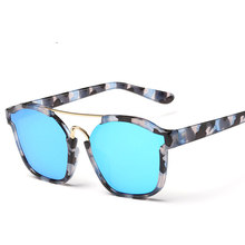 New Fashion Square ABSTRACT Sunglasses Women Brand Designer Reflective Coating Sunglass Female Sun Glasses UV400 Big Frame