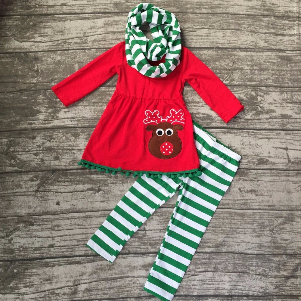Fall/winter 3 pieces scarf Christmas top baby girls outfits reindeer print green stripes pant boutique children clothes pom pom embroidered tape and pom pom trim halter top