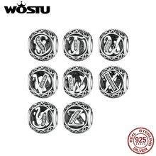 WOSTU 925 Sterling Silver Vintage U to Z, Clear CZ Letter Alphabet Bead Charms Fit Pandora Bracelets & Bangles Jewelry