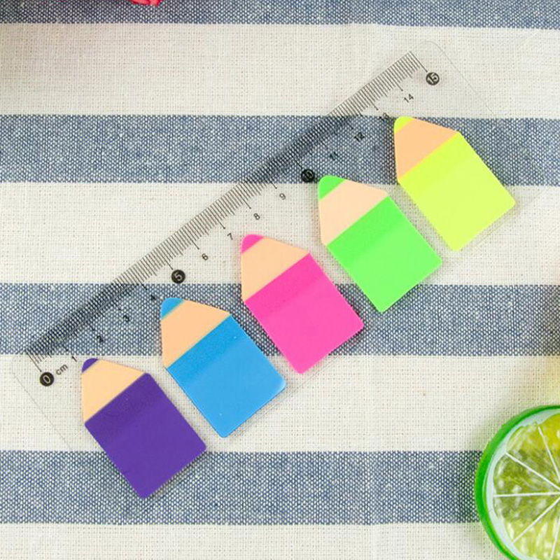 New 10 Sets/lot Plastic Candy Color Pencil Stub Shape Memo Pad Fluoresc Sticky Notes Post It Page Flag Index With 15 Cm Rulers