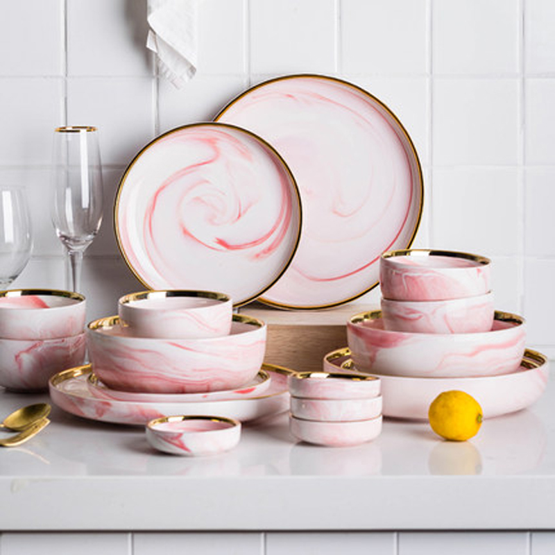6 People Set Pink Marble Ceramic Dinner Dish Rice Salad Noodles Bowl Soup Plates Dinnerware Sets Tableware Kitchen Cook Tool