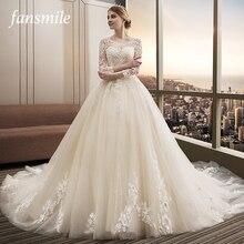 Fansmile Luxury Long Train Vestido De Noiva Lace Wedding Dress 2020 Customized Plus Size Wedding Gowns Bridal Dress FSM 482T