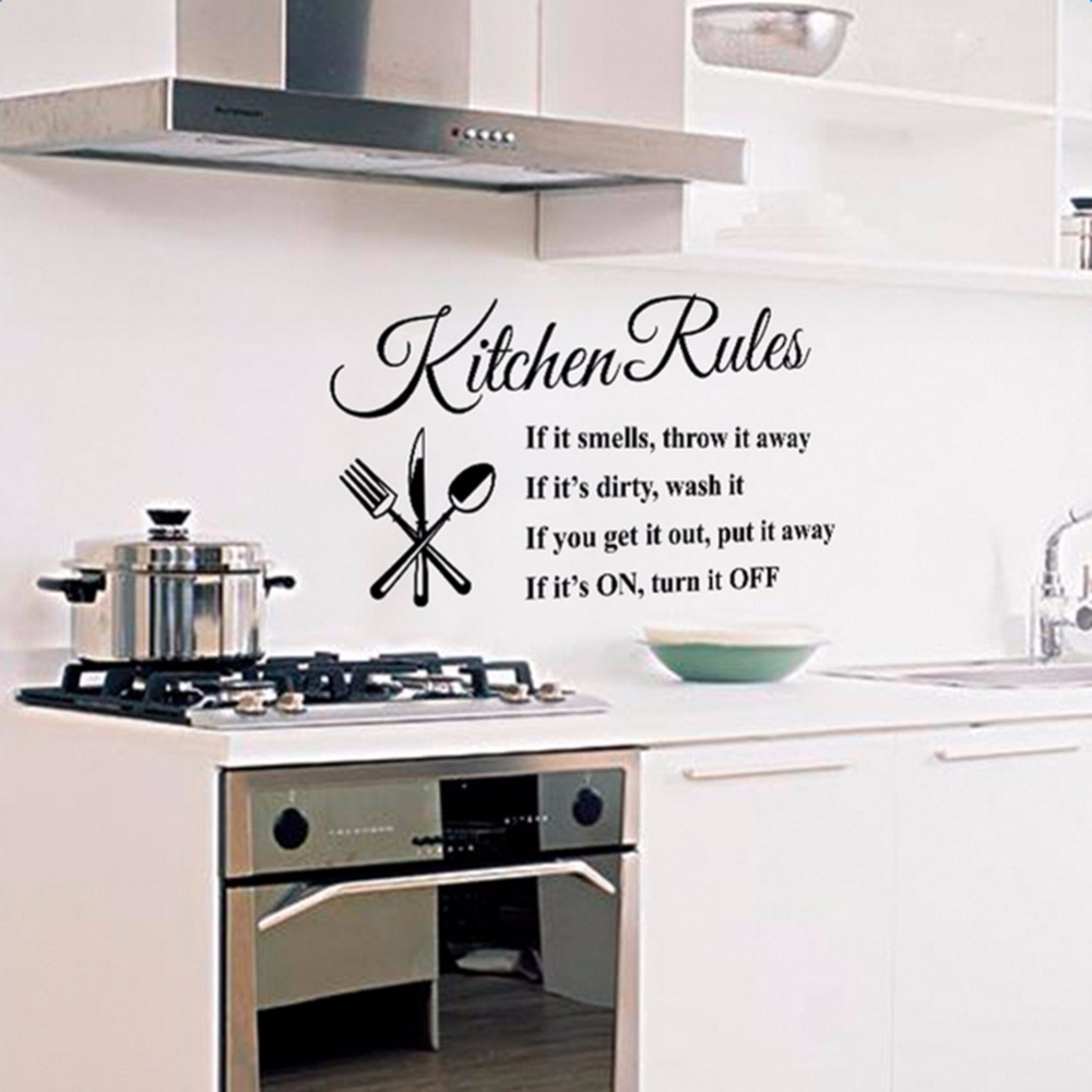 2017 New Creative English Text Kitchen Rules Art Wall Stickers Home ...