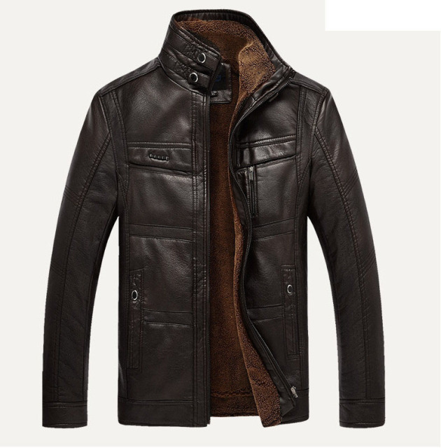 ZOEQO Leather Jacket Men jaqueta de couro masculina Men's Thick PU leather coat Men casual Winter Faux Fur Fleece Jacket Male
