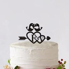 Bride & Groom Wedding Cake Toppers Custom With An Arrow through A heart Wedding Cake Decoration Tools