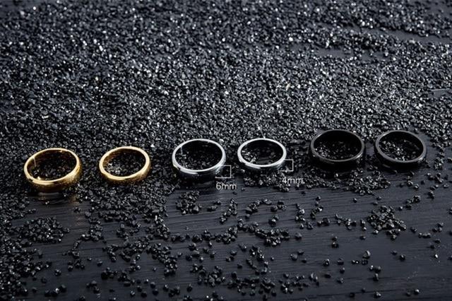 Женские и мужские кольца из вольфрамовой стали золотого черного