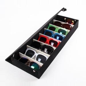 Image 4 - Moedoa estojo para óculos de sol, caixa de armazenamento para óculos de sol, 8 compartimentos, joias, 48.5x18*6cm caixa de exibição/rack