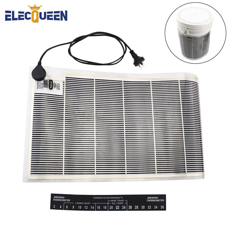 Electric Fermentation Wrap Heating Film AU Plug ,Fermentation Heater For Carboy + Digital Temperature Test Sticker Home Brewing
