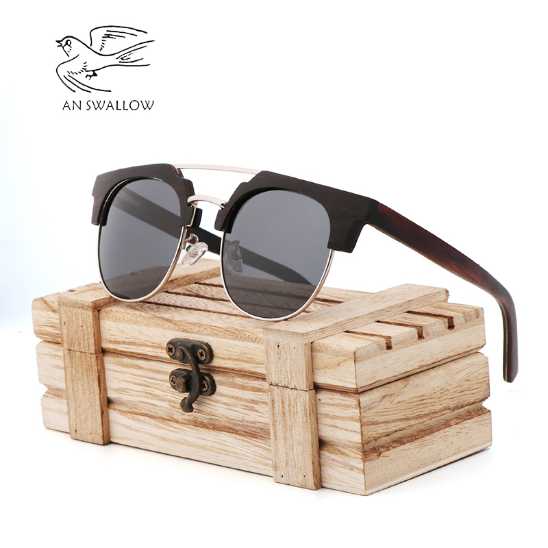 Classic Fashion Men's Wooden Sunglasses 2019 New Wood Sandwich Glasses Polarized TAC Lens UV400 Bamboo Wood Sunglasses Men's Sunglasses     - title=