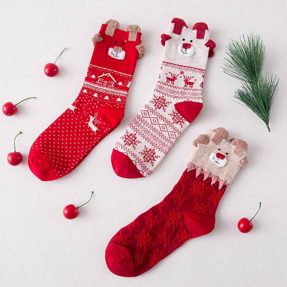 Moda zimowa nowy 1 para kobiety miękkie śliczne Xmas Snowflake Deer skarpetki z nadrukiem bawełniane ciepłe pończosznicze skarpetki świąteczne prezenty