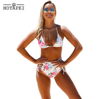 Hotapei Women Bikinis Strappy Floral Print Retro High Waist Swimwear 2017 Sexy Hollow Halter Push Up