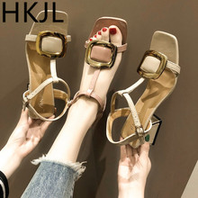 HKJL Fashion The 2019 new summer chunky Roman sandals go with everything a center strap and square toe A226