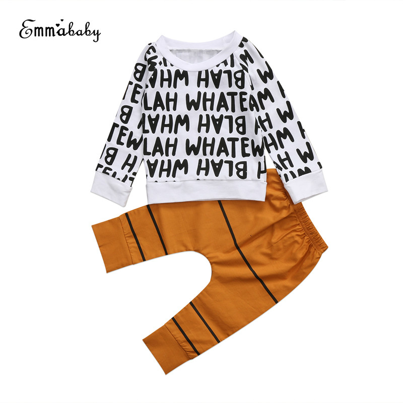 2017 Newborn Casual Cute Lovely Infant Baby Boys Long Sleeve Letter O-Neck Tops T-shirt Long Pants 2PCS Outfits Set Clothes 1-6Y