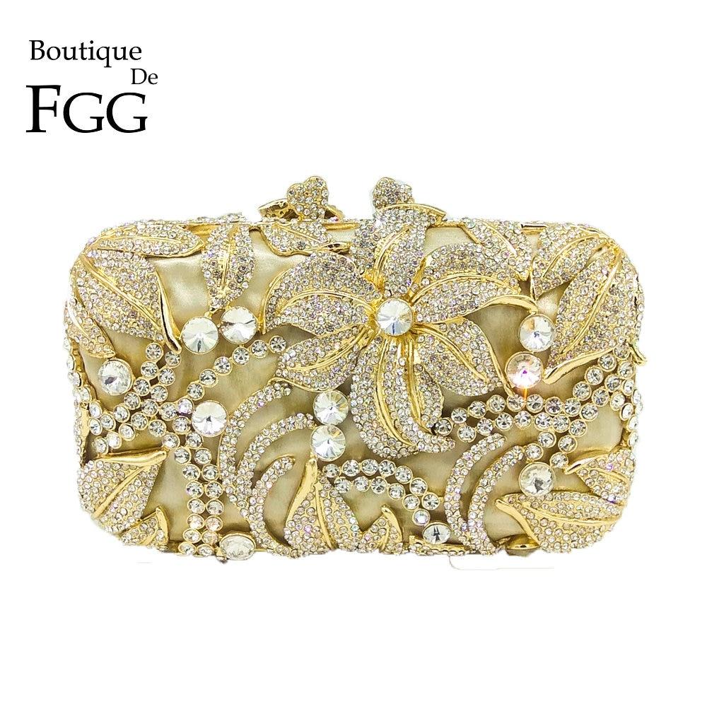Boutique De FGG Elegant Crystal Evening Purse Women Metal Minaudiere Handbag Wedding Flower Handbag Bridal Gold