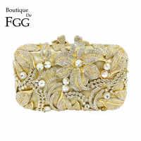 Boutique De FGG Elegant Crystal Evening Purse Women Metal Minaudiere Handbag Wedding Flower Handbag Bridal Gold Clutch Bag