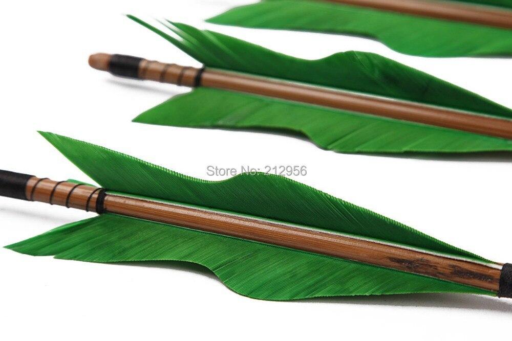 ФОТО Longbowmaker One Dozen Green Turkey Feathers Bamboo Shaft Target Practice Arrows BGT2