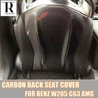 W205 C63 углеродного волокна интерьера декоративные задняя крышка сиденья отделка для Mercedes Benz W205 C63 AMG 2015 2016 2017