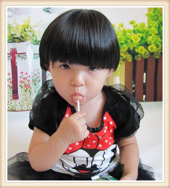 Synthetic 3 8 Years Old Children Wig Girls Cosplay Party Short Curly Hair Cut Bang Cute Fringe