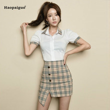 2 Piece Set Women Summer White Short Sleeve Turn-down Collar Casual Shirt Top and Vintage Club Plaid Mini Skirts Two