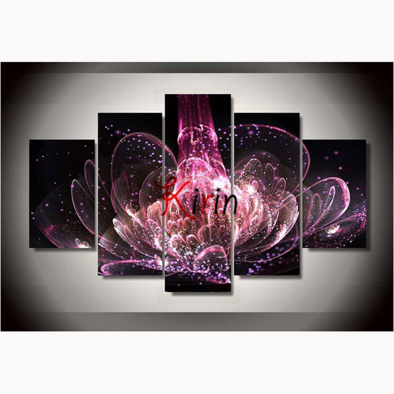 5 pcs sets flowers 3d diamond painting square diy drill embroidery cross stitch home