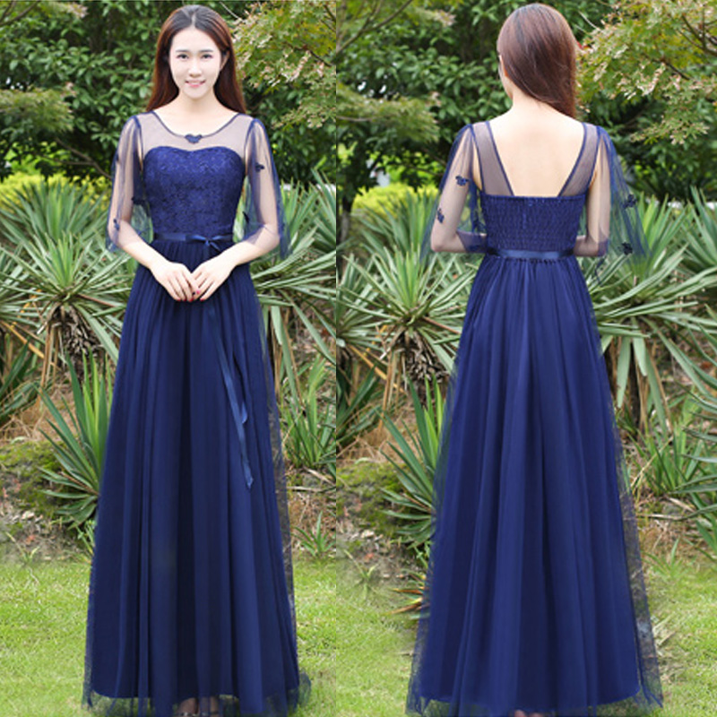 Lace Top Backless Chiffon Mesh Maxi Navy Blue Holiday Party Dresses Juniors for Wedding Teenager Formal Maxi Gown with Sleeves navy round neck 3 4 length sleeves chiffon blouses
