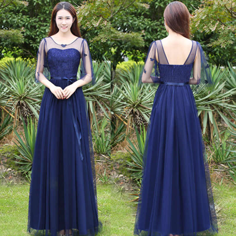 80059f215580 Lace Top Backless Chiffon Mesh Maxi Navy Blue Holiday Party Dresses Juniors  for Wedding Teenager Formal