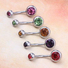 Đúp Gem Phẫu Thuật Thép Belly Button Bar Navel Nhẫn Body Piercing Jewellery 10 colors 100 cái Belly piercing(China)