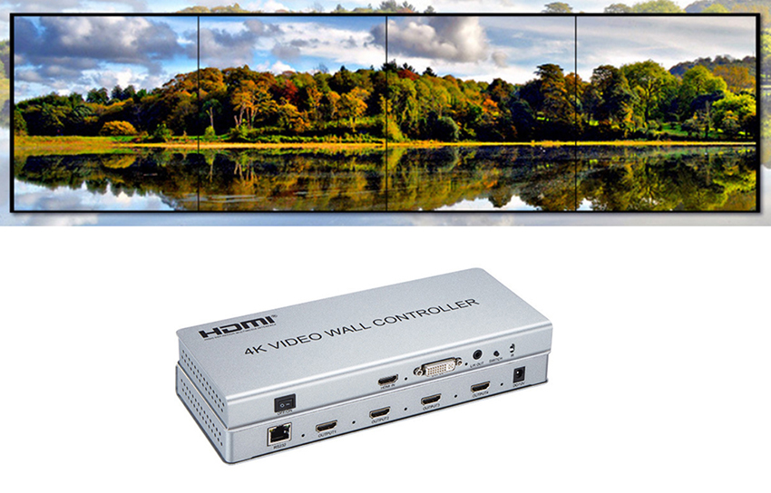 Image 4 - Video wall controller 2x2 1 HDMI/DVI Input 4 HDMI Output 4K TV Processor Images Stitching 4 TV Shows a Screen Splicing-in CCTV Parts from Security & Protection