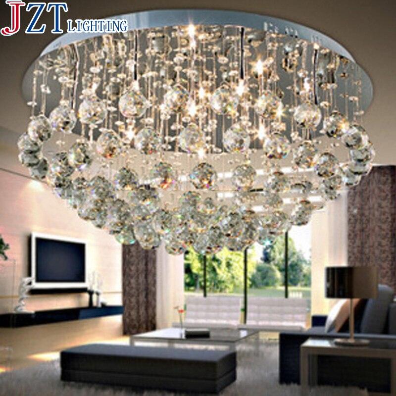 [ZYY] LED Salon Circulaire Dia 60/80/100 cm K9 Plafonniers En Cristal En Acier Inoxydable pied de Lampe Taransparent couleur Pour Chambre