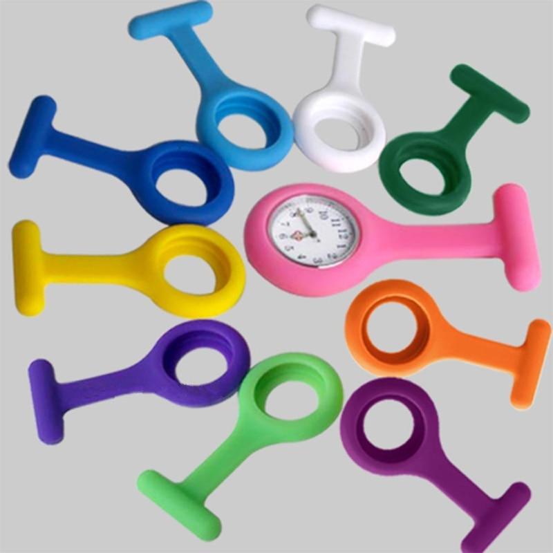 Shellhard 1Pc ممرضة ساعة + 10 قطعة لون عشوائي غطاء سيليكون الأزياء مضيئة اليد المهنية الجيب ووتش بروش فوب الطبية