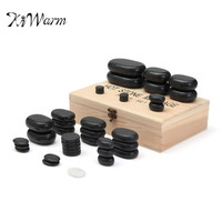 50pcs/set Black and White Basalt Hot Stone Massage Complete Set Specialty Stones Health Care Massage Tools With Box Gift