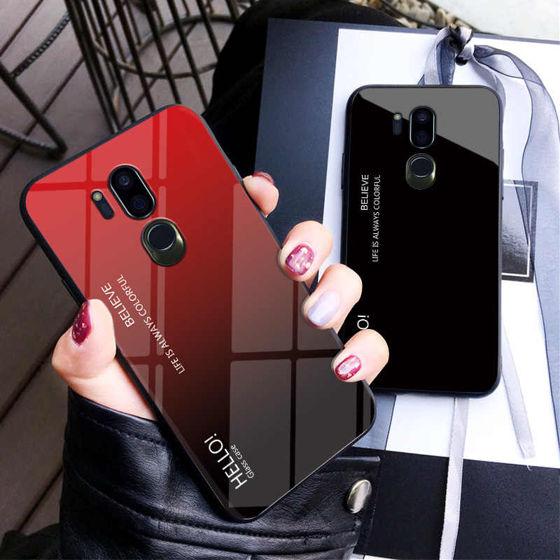 Haissky Gradiënt Gehard Glas Case Voor Lg G7 Thinq Fashion Rainbow Hard Cover Voor Lg G7 Kleurrijke Luxe Cover shell Coque
