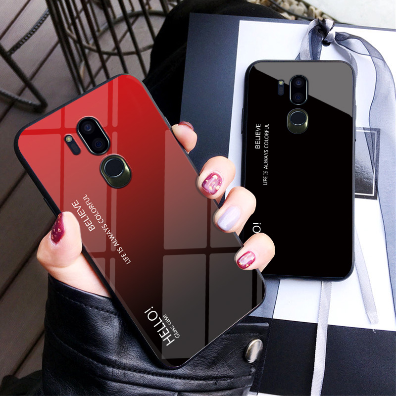 Gradient Tempered Glass Case For LG G7 Thinq Fashion Rainbow Hard Back Cover For LG G7 Colorful Luxury Cover Shell Coque