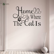 YOYOYU Wall Decal Living Room Decoration Vinyl  Art Home is where the Cat with Paw Prints Sticker Repetable TO143