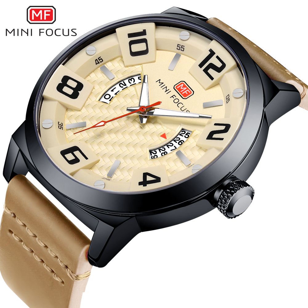 MINI FOCUS Top Brand Men Military Sports Watches Men's Quartz Luxury Leather Strap Wrist Watch Male Date Clock relogio masculino uniel uld 11040