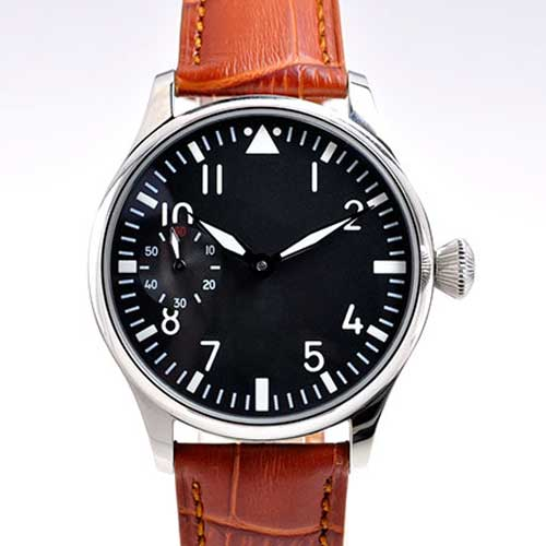 Parnis 44mm black dial luminous black and brown leather strap 6497 hand winding movement Men's watch P1 цены онлайн