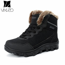 VIXLEO Men Shoes Winter Fashion Vintage Style Male High Top Leather Warm Fur Snow Boots Shoes Mrtin Boots High-Cut Casual Shoes