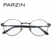PARZIN Classic Retro Big Round Glasses Frame With Clear Lens Quality Memory Metal Eyewear Fame Optics