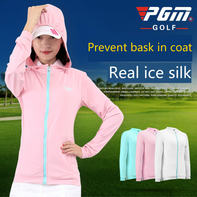 PGM Women golf apparel summer outdoor sports ladies ice silk sunscreen coat Breathable Quick-drying hooded golf jackets