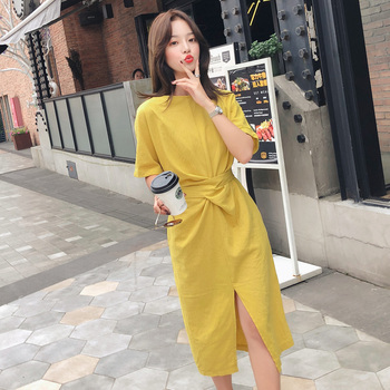 Women O-Neck Short Sleeve Casual Dress